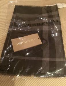 New Authentic Burberry Unisex Nova Check Plaid Trademark Black & Gray $490
