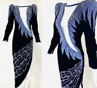 VINTAGE Asymmetric Velvet Avant Garde Cut Out Bead Sequin Exaggerated Shoulder S