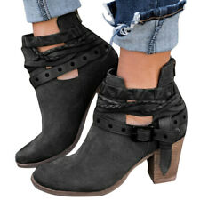 Black Women Ankle Boots Autumn Gladiator Party High Heels Rivet Buckle Shoes