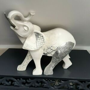 White Elephant Ornament  with Trunk Up silver and grey decorated panels used