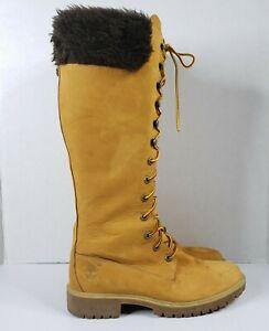 Timberland Knee High Boots 8.5 Premium Nubuck 14 Inch Lace Up Waterproof Womens