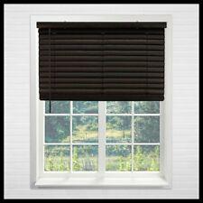 Dark Walnut 32 x 64 in Vinyl Mini Blind Cordless Room Darkening Sun Window Shade