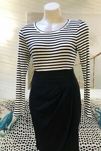COUNTRY ROAD M 12 texture RIB KNIT black white STRIPE TOP long sleeve LAYER 2020