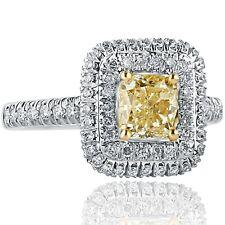 1.78 Ct Cushion Cut Yellow Diamond Engagement Ring Double Halo 18k White Gold