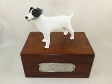 Beautiful Paulownia Sm Wooden Personalized Urn B/W Jack Russell Terrier Figurine