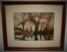 Vintage Roy M Mason Framed Watercolor Print on Paper 2 Men Camping Canoe Woods