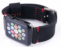 Handmade Black Nubuck Leather Watch Strap Band For Apple Watch Series 1 2 3 42mm