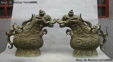 Chinese Bronze Copper Foo Dog Lion Kylin OX Oxen Dragon Phoenix Cup Pot Jar Jug