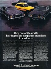 1978 Renault LeCar Chrysler Cordoba Cadillac Advertisement Print Art Car Ad J644
