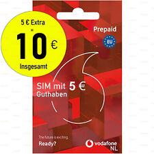 Einsatzbereit Prepaid SIM-Karte 10€ Guthab Aktiviert Anonym Vodafone Niederlande