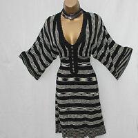 UK 8 KAREN MILLEN 1 Black Stripe Batwing Sleeves V-Neck Knitted Crochet Dress