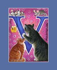 """Alphabet Cat ACEO Print Letter """"V"""" by I Garmashova"""