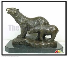 Bronze Statue two Bears. mother & baby bear Sculpture