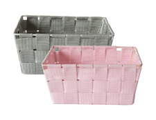 2 Handy Storage Basket WOVEN Crate School Office KITCHEN Pharmacy Tidy Organiser