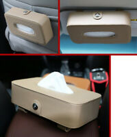 1x Car Sun Visor Tissue Box Holder Leather Paper Napkin Cover Auto Styling Beige