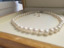 Fresh Water White Pearl Bead  Necklace and earring in luxury gift box free post