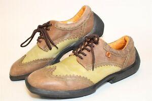 John Fluevog Mens Size 11 Future Angel Leather Two-Tone Wingtip Oxford Shoes