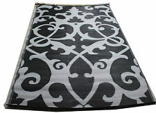 LIGHTWEIGHT WOVEN PLASTIC MAT INDOOR OUTDOOR RUG BLACK GREY PSYCHEDELIC NEW