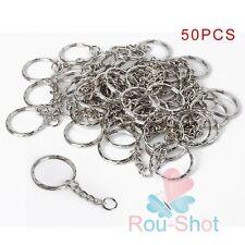 New 50Pcs Silver DIY Polished Keyring Split Ring Short Key Chains 25mm with Link