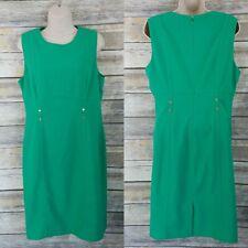 Calvin Klein Size 12 Sheath Dress Kelly Green Sleeveless Career Womens Staple