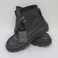 Zara UK Size 8 EU 42 Mens Lace Up Ankle Boots Black New Leather Chunky Sole