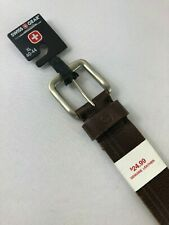 Swiss Gear Belt Men's Size XL 40-44 Square Buckle Leather Brown NEW