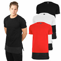 Urban Classics T-Shirt extra lang long Shirt Tee oversize Kunst Leder Saum TB818