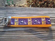 Key Fob, Key Chain, Wrist key holder Vikings Football wth yellow/gold webbingUSA