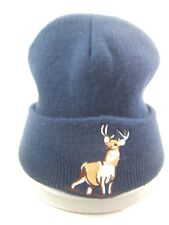 Buck Deer Winter Hat Dark Blue Toque Beanie Stocking Cap