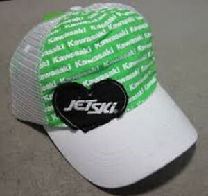 KAWASAKI WOMEN'S JET SKI HEART CAP WHITE LADIES LOGO TRUCKER ADJUSTABLE HAT