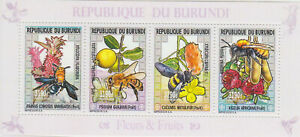 BURUNDI 2014 MNH Bees Insects Flowers Fruits #ANG0042
