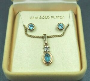 Topaz Stud Earrings & Pendant Set 24ct Yellow Gold Plated Fine Jewelry