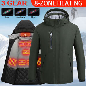 USB Electric Heated Jacket Hooded Coat Heating Outwear Winter Warmer Waterproof