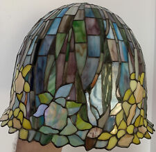 """VTG Tiffany Style Stained Glass Lamp Shade, 18"""" Diameter, 15"""" Height, Rare Shape"""