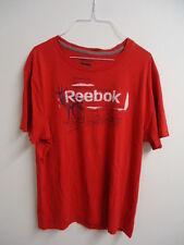 01/58 REEBOK Herren Marken Shirt  Gr. L rot mit Aufdruck kurzarm Baumwolle TREND