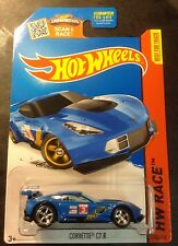 Hot Wheels Super CUSTOM Blue Corvette C7.R with Real Riders M Case