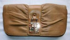 MICHAEL KORS Dark Tan Leather Clutch Handbag with Gold Tone Hardware