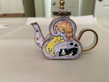Metal Enamel Cat Teapot by Kelvin Chen in 2000. No. 2095. lavendar w 3 cats