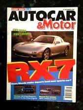 AUTOCAR MAGAZINE 27-NOV-91 - Mazda RX-7, MVS Venturi 260, Renault 21 Savanna GTX