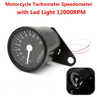 12000RPM Universal LED Motorcycle Tachometer Speedometer Gauge With Bracket 12V