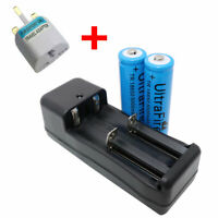 2X 18650 3.7V 5000mAh Li-ion Rechargeable Battery + 4.2V Charger and UK Adaptor