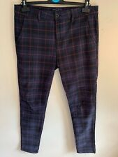 Topman - Mens Windowpane Check Stretch Skinny Chinos, Navy/Amber/Red, W34 L34