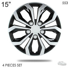 """NEW 15"""" ABS SILVER RIM LUG STEEL WHEEL HUBCAPS COVER 553 FOR TOYOTA"""