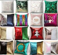 Sequin Pillow Cover Home Cushion Case Magic Decor Girls Gift Xmas Personalised A
