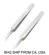 Professional Pointed Ingrown Hair Splinter Tip and Curve Tweezers Set