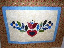 "Hearts & Flowers Applique Quilt 32"" X 28 Wall Hanging"