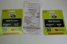 2 Total Cards Straight Talk Wireless $30 Prepaid Card Basic Phone Only 1500Min.