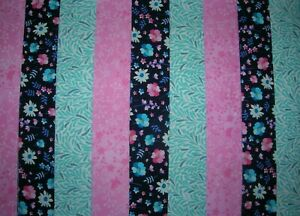 """9 JELLY ROLL STRIPS NAVY/PINK/TURQ  44"""" X 2.5""""  100% COTTON PATCHWORK/QUILT NPT"""