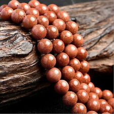 Wholesale Natural Gold Sand Stone Round Beads For Jewellery Making 4-12mm