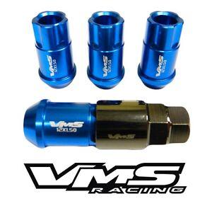 20PC VMS RACING MITSUBISHI 12X1.5MM ALUMINUM LOCKING LUG NUT SET BLUE
